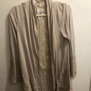 NWT! Indigo Soul Lace back knit cardigan in taupe